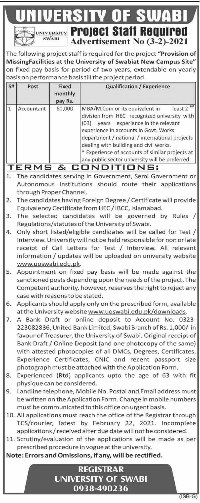 Latest Jobs in Swabi UOS University of Swabi