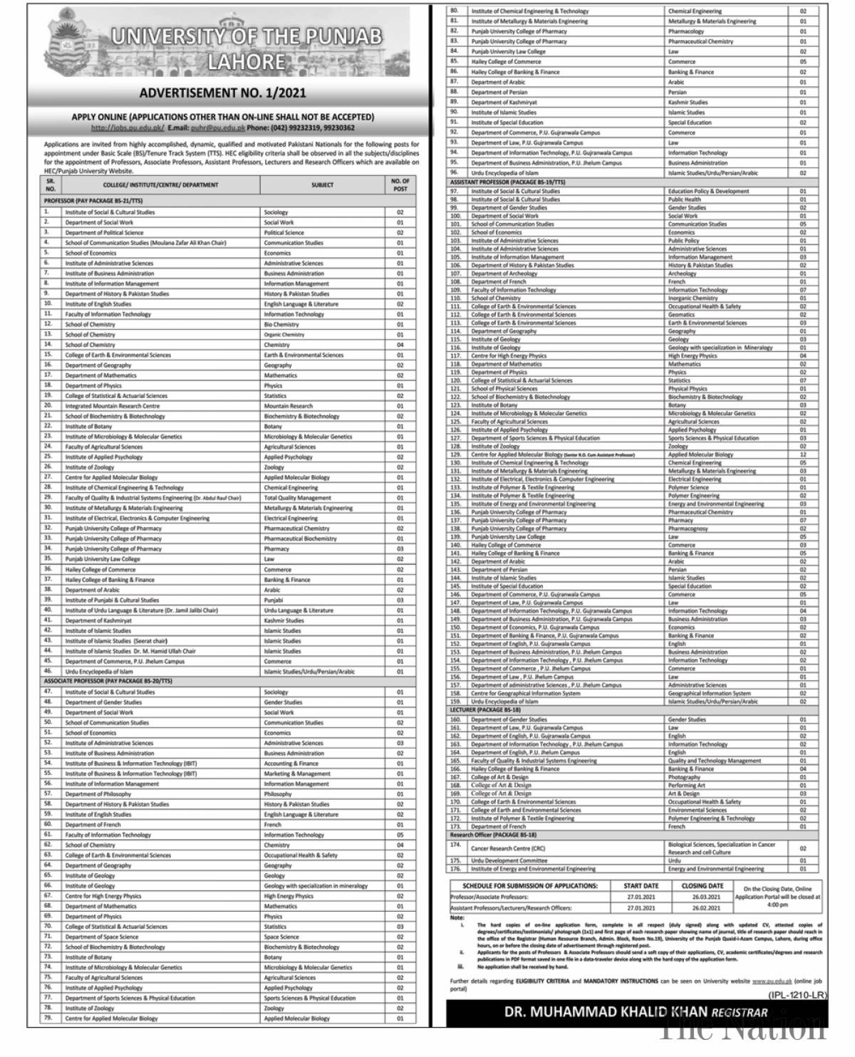 Punjab University PU Lahore Jobs 2021 Test Date Interview Schedule