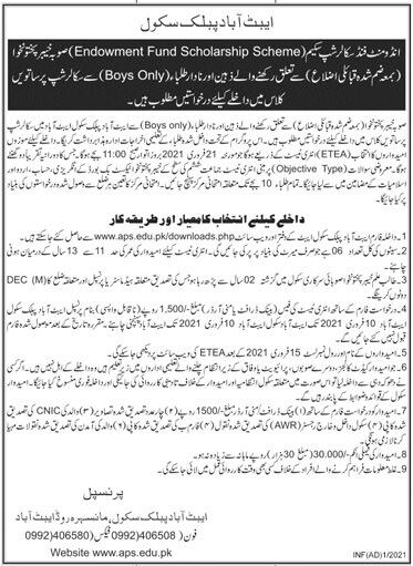 Abbottabad Public School Endowment Fund Scholarship Test Result