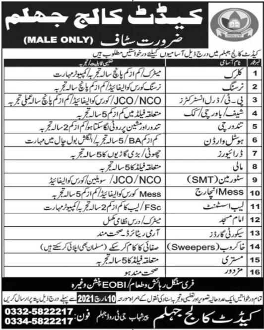 Cadet College Jhelum Jobs Teacher Jobs in Punjab