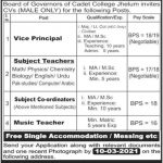 Cadet College Jhelum Jobs Teacher Jobs in Punjab 2021