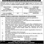 District Health Authority Lahore Jobs Today Govt Jobs in Lahore Punjab 2021