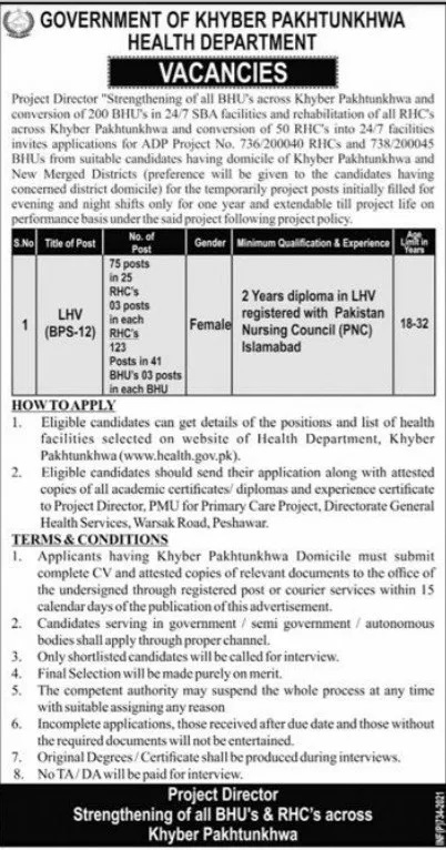 Health Department KPK LHV Jobs Interview Schedule Merit List