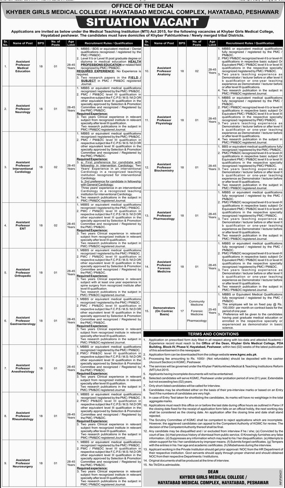 Today Govt Jobs In KPK Khyber Girls Medical College Peshawar Jobs 2021