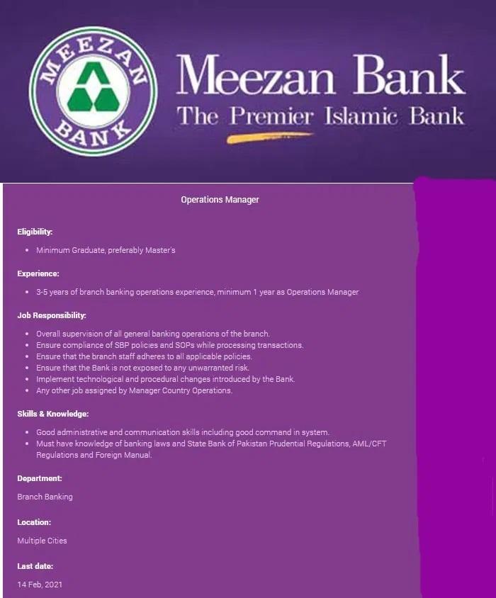 Meezan Bank Operations Manager Jobs Interview Schedule