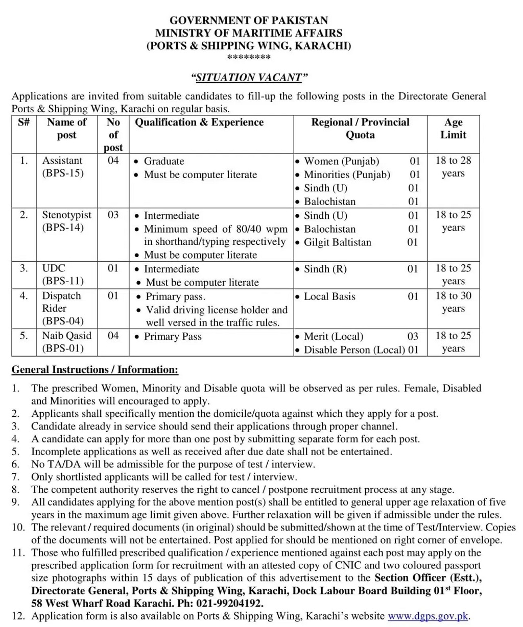 Ministry of Maritime Affairs Jobs Test Date Interview Schedule