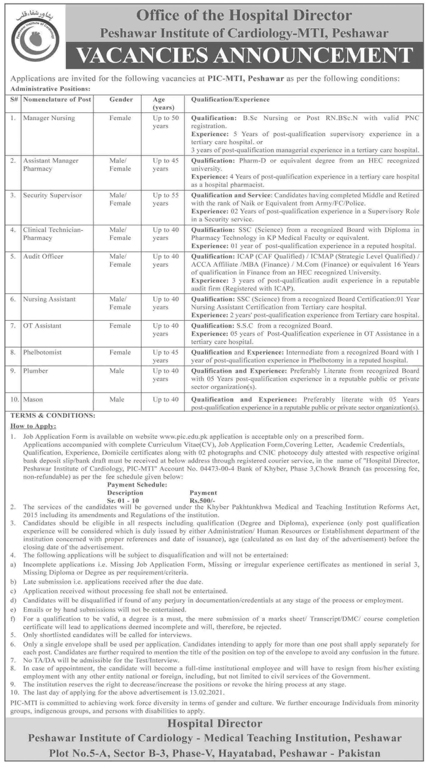 MTI Peshawar Institute Of Cardiology Jobs