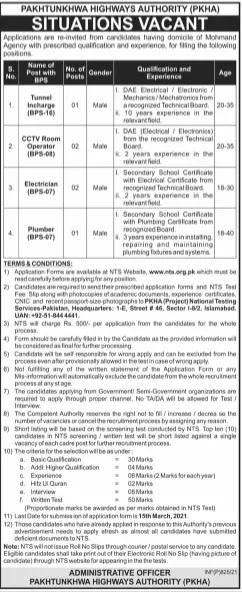 Pakhtunkhwa Highways Authority PKHA Jobs NTS Roll No Slip