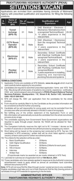 Pakhtunkhwa Highways Authority PKHA Mohmand Jobs Via NTS
