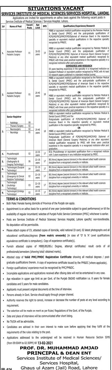 Services Hospital Lahore Jobs 2021 Interview Schedule Test Date Result