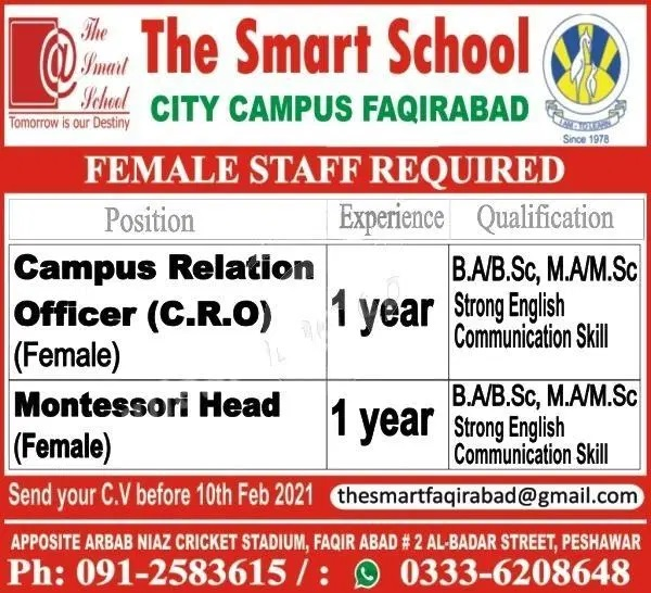 Today government Jobs Pakistan Latest in The Smart School City Campus Faqirabad Peshawar Jobs 2021