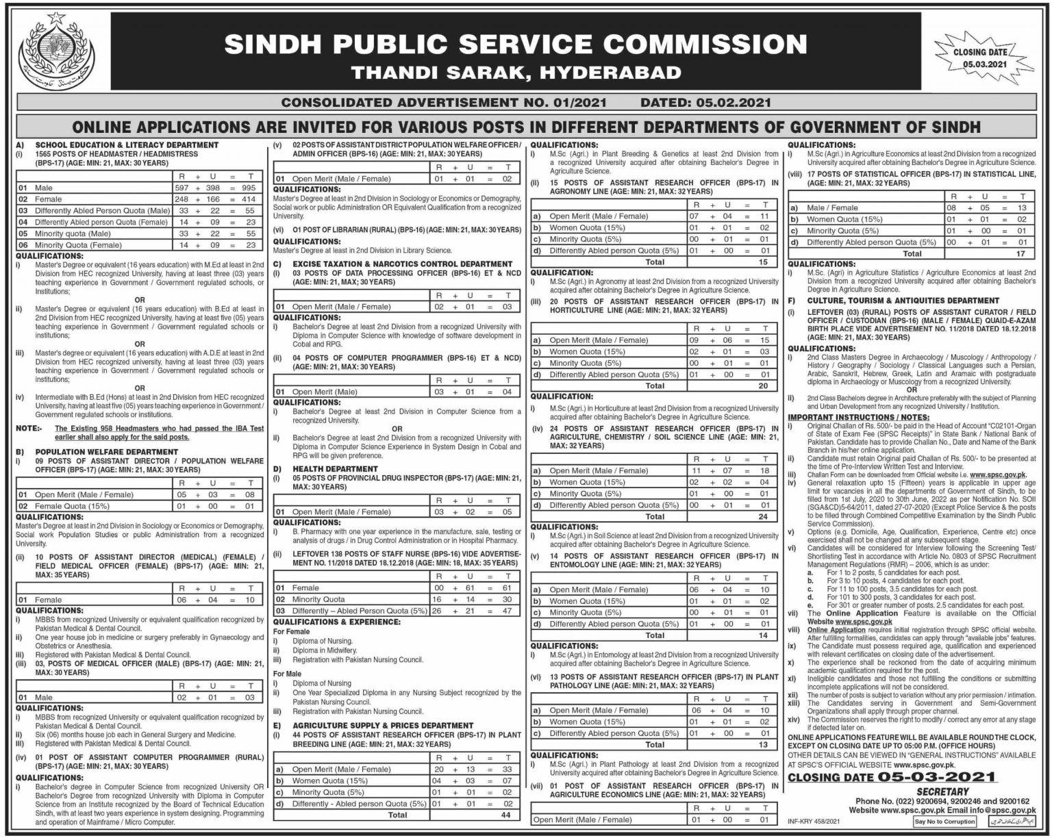 Sindh Public Service Commission Jobs