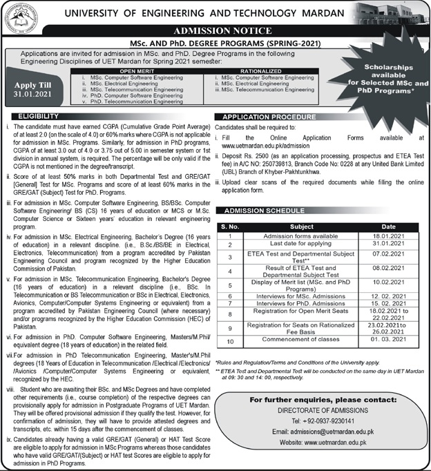 UET Mardan MSc PhD Spring 2021 Admission ETEA Result Merit List