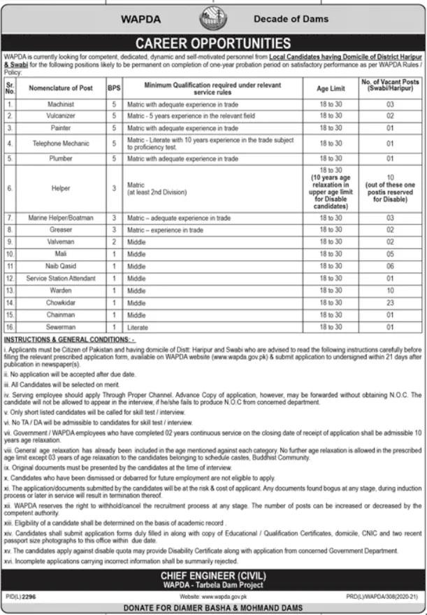 Water Power Development Authority WAPDA Jobs Today Latest Govt Jobs