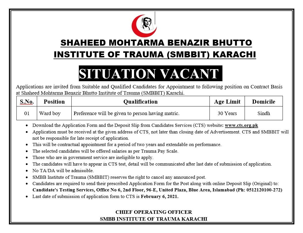 SMBBIT Karachi Ward Boy Jobs CTS Result