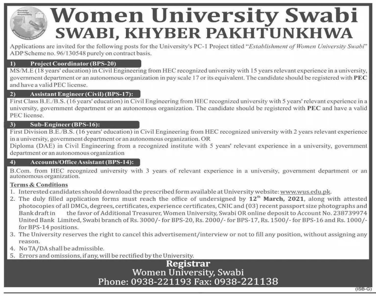 Women University Swabi WUS Jobs Today KPK Govt Jobs