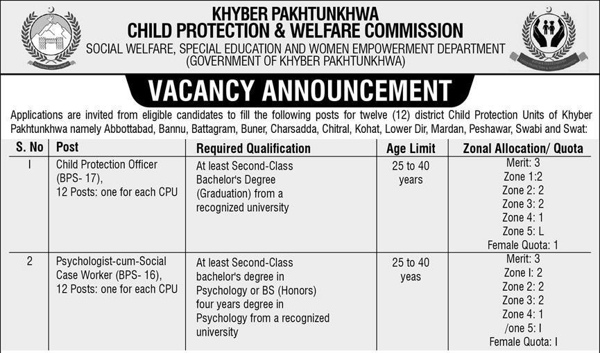 Child Protection and Welfare Commission KPK Jobs ETEA Roll No Slip