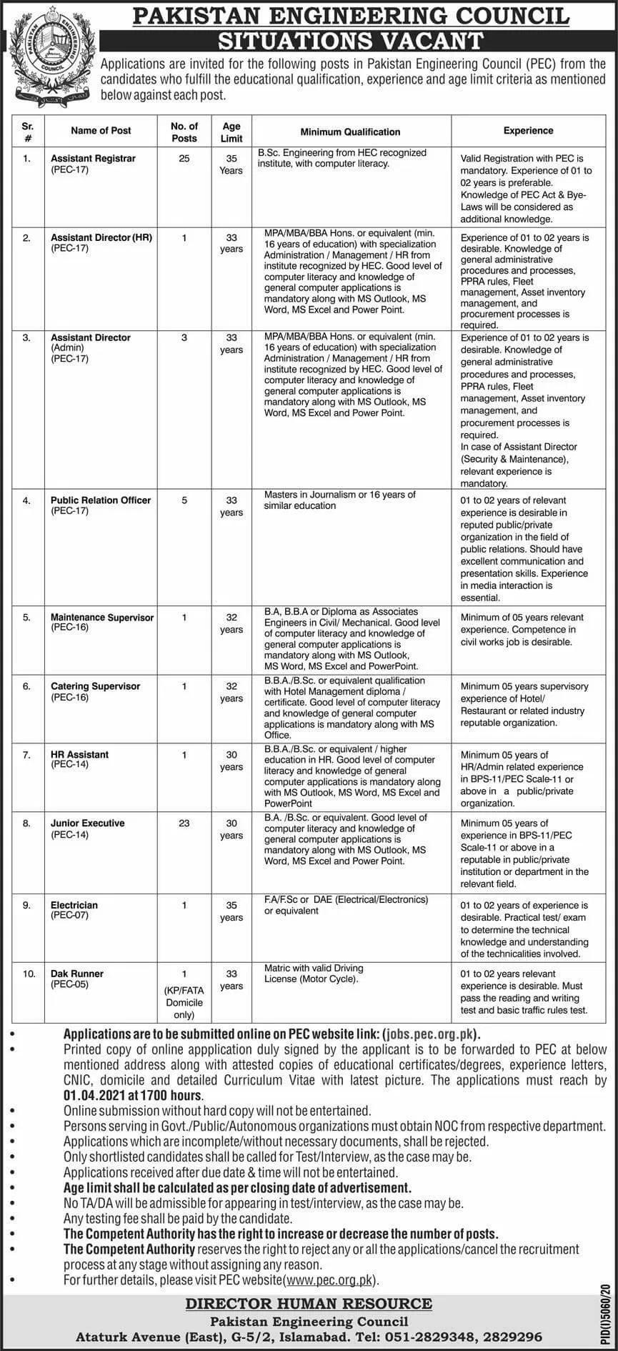 PEC Pakistan Engineering Council Jobs Test Date Interview Schedule