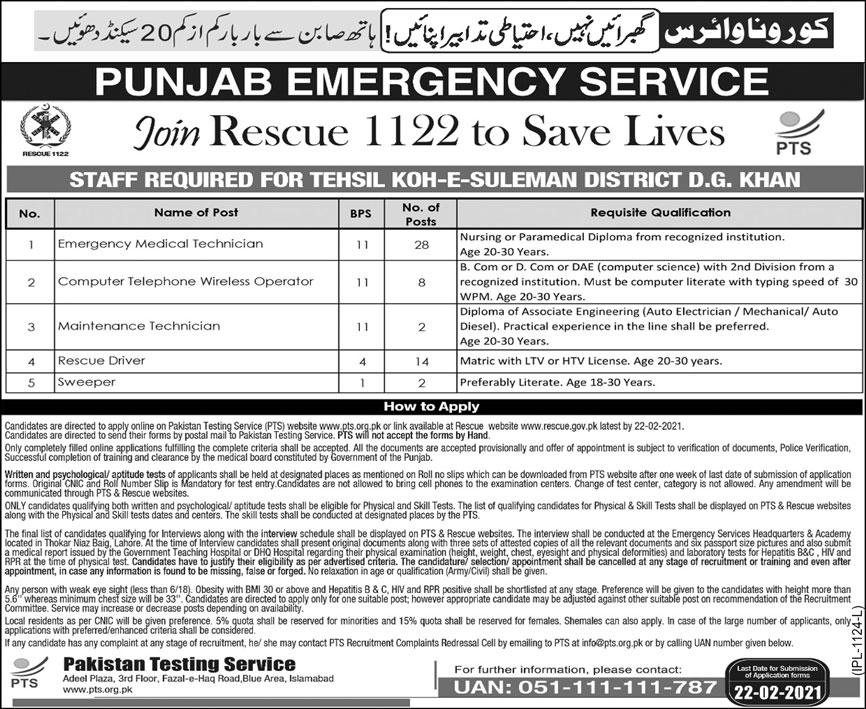Rescue 1122 Punjab 412 Phase II DG Khan Jobs PTS Result