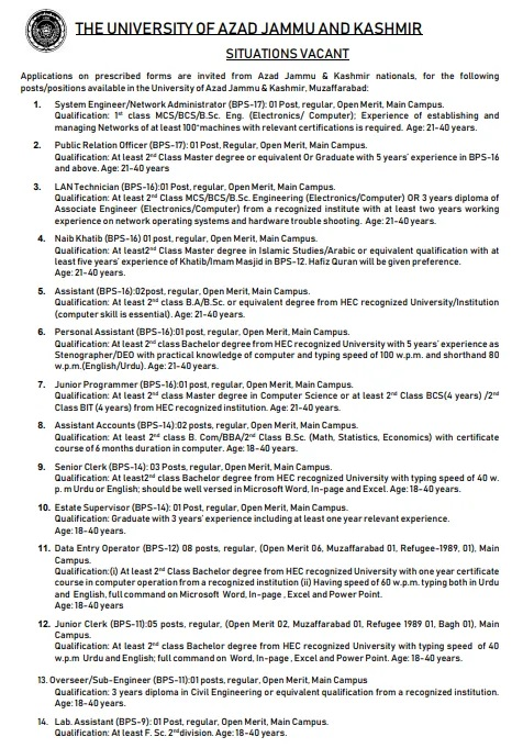University of Azad Jammu Kashmir Muzaffarabad Jobs NTS Result