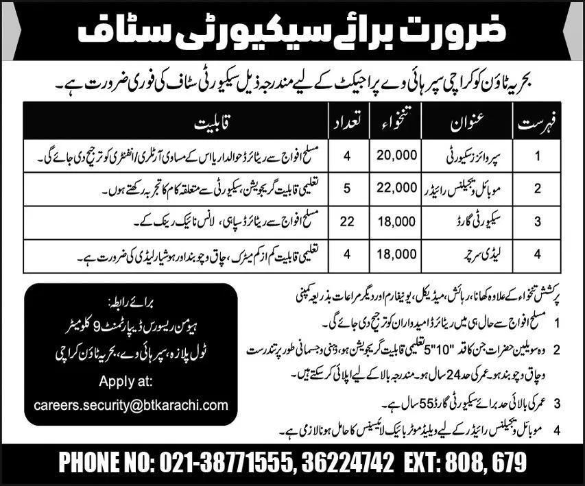 Bahria Town Karachi Jobs Interview Schedule Merit List