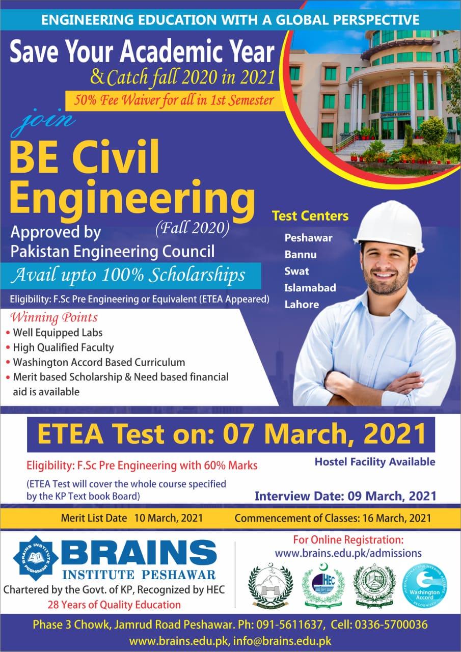 BE Civil Engineering Admission The Brains Institute Peshawar ETEA Slip