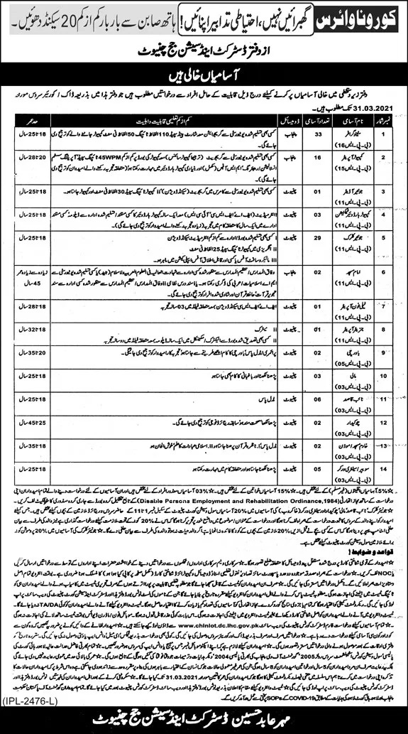 District Session Courts Chiniot Jobs Test Date Roll No Slip