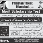 Pakistan Talent Olympiad KPK Merit Scholarship Test NTPA Roll No Slip