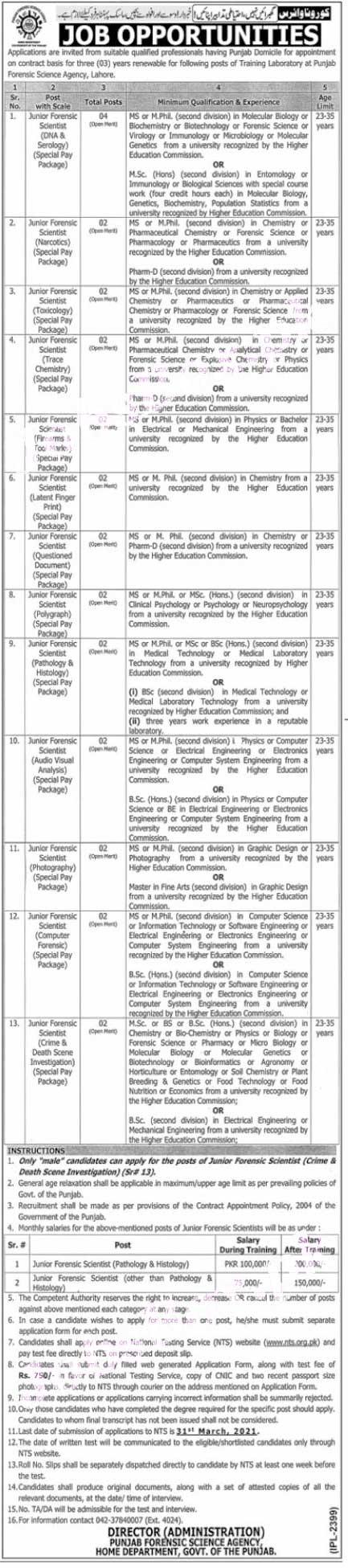 PFSA Punjab Forensic Science Agency Lahore Jobs NTS Roll No Slip