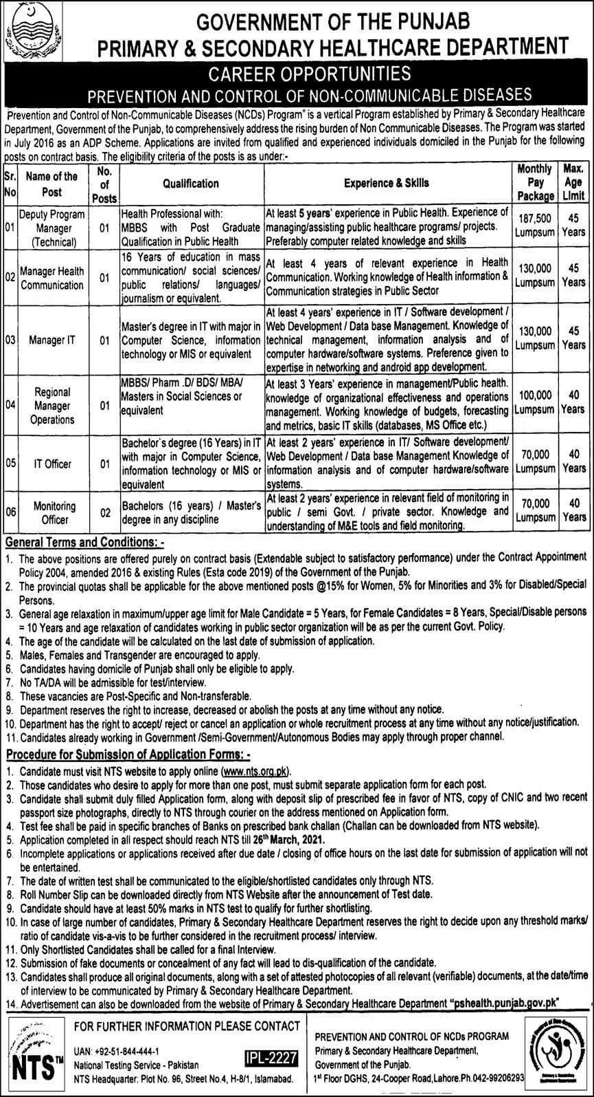 Primary Secondary Healthcare Department Jobs NTS Roll No Slip