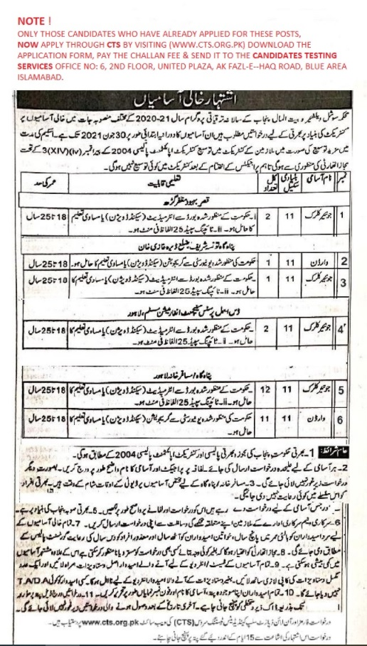 Directorate General of Social Welfare and Bait ul Mal Punjab Jobs CTS Roll No Slip