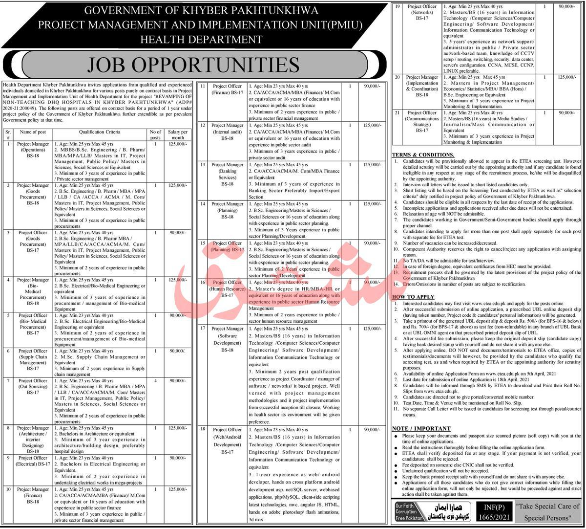 Project Management Implementation Unit PMIU Jobs ETEA Roll No Slip