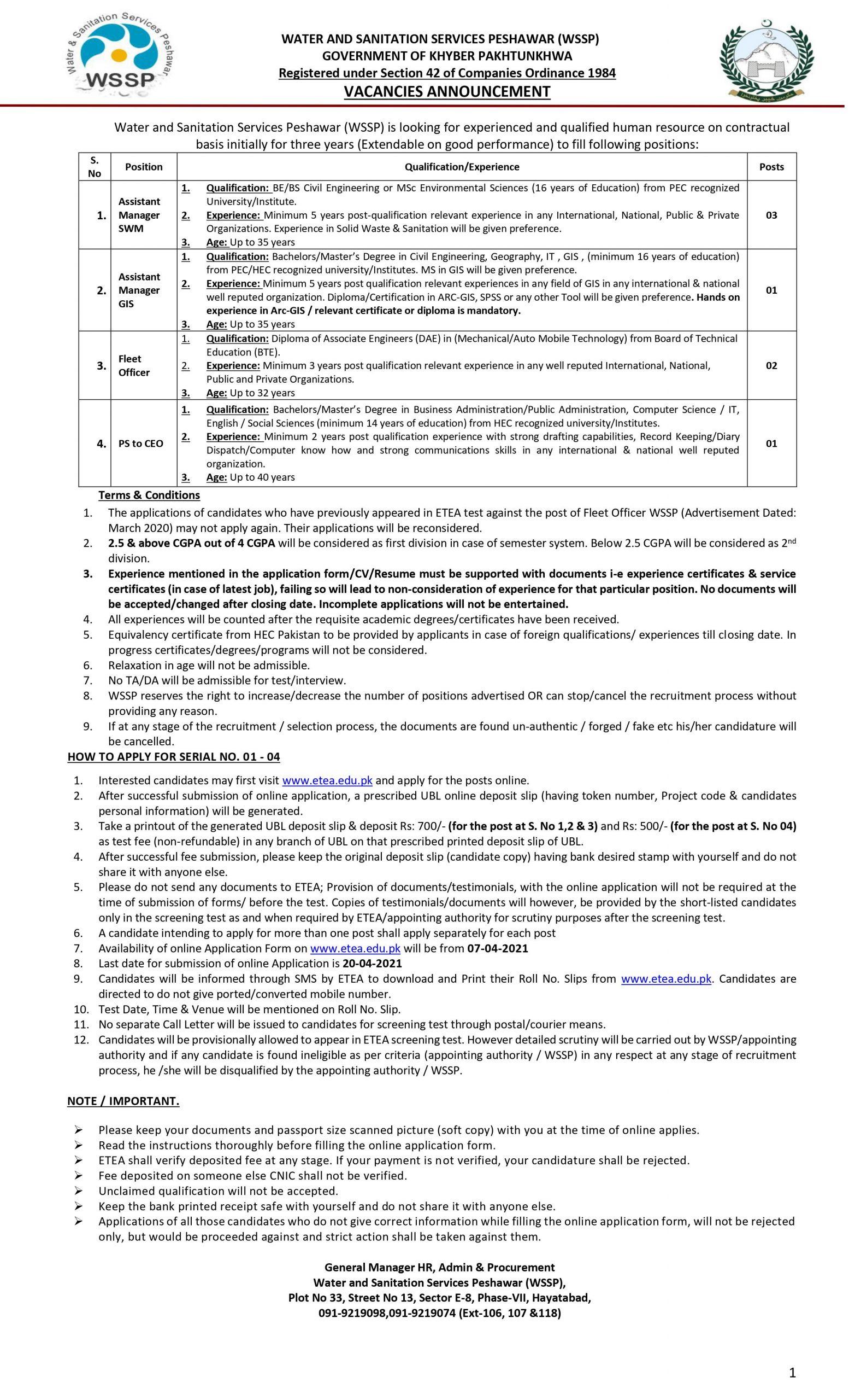 Water Sanitation Services Peshawar WSSP Jobs ETEA Test Roll No Slip