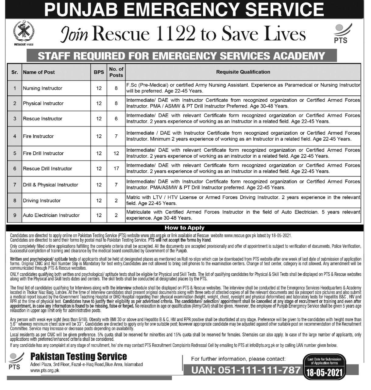 Rescue 1122 Punjab Jobs Phase 3 Phase 4 PTS Roll No Slip