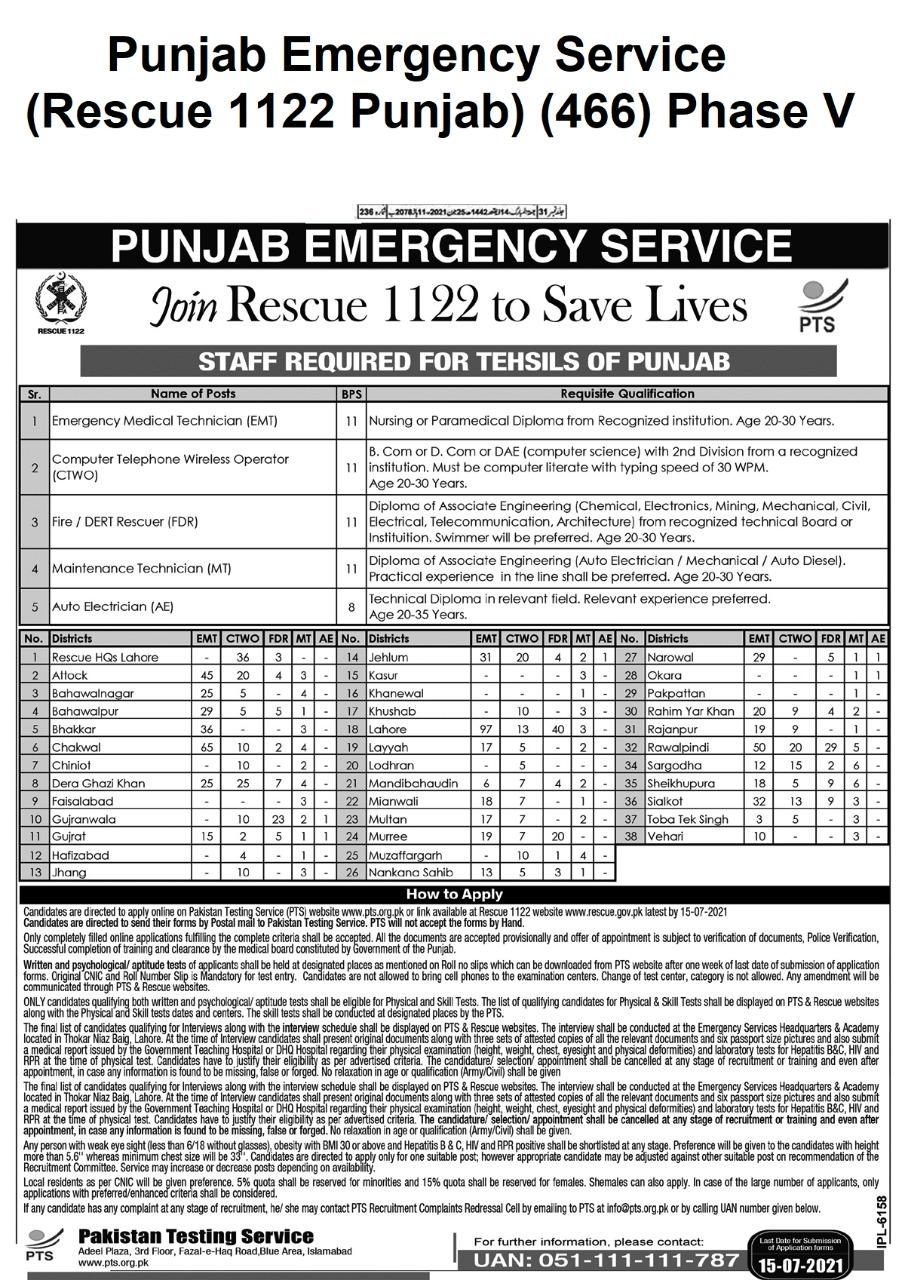 Rescue 1122 Punjab Jobs Phase V 466 PTS Roll No Slip