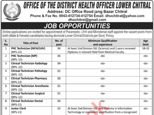 District Health Officer Lower Chitral Jobs ETEA Result