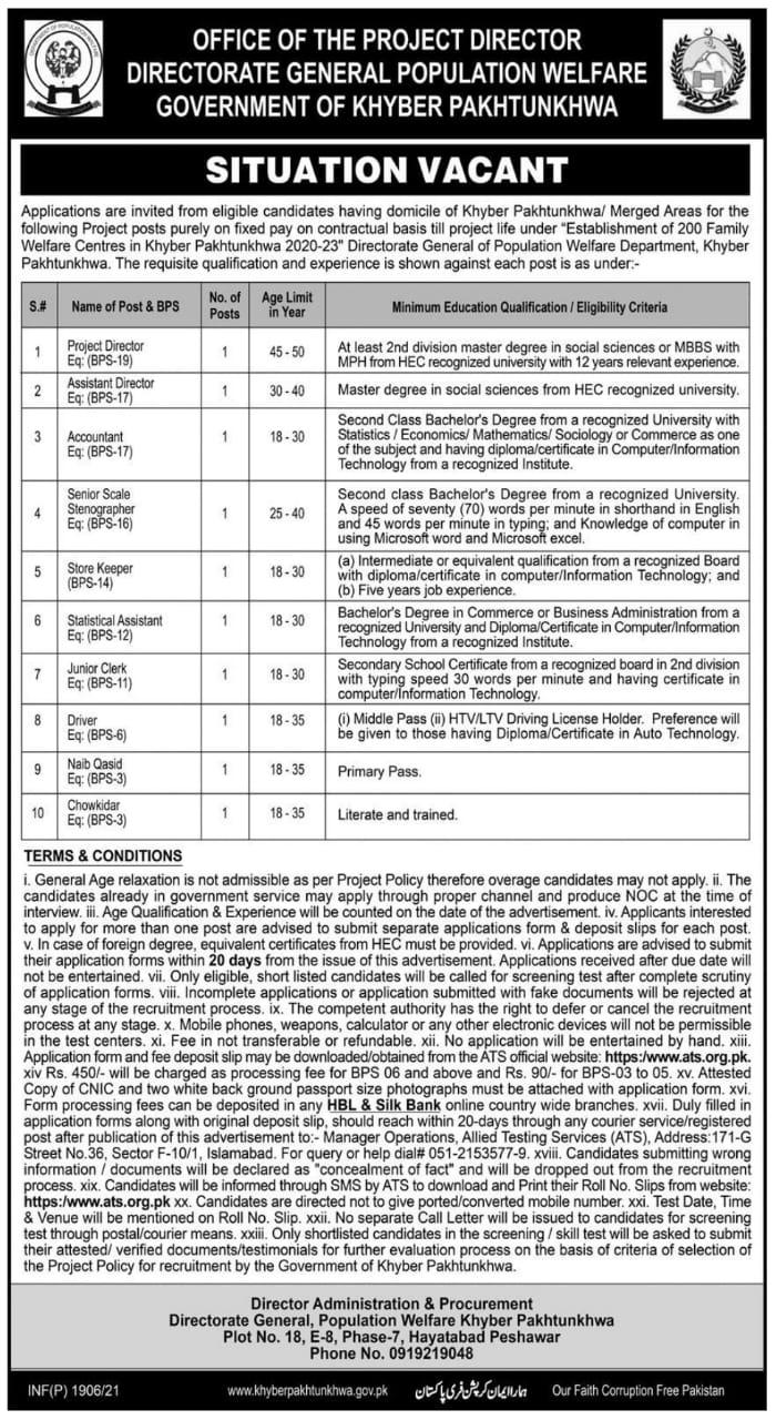 Directorate General Population Welfare KPK Jobs ATS Result