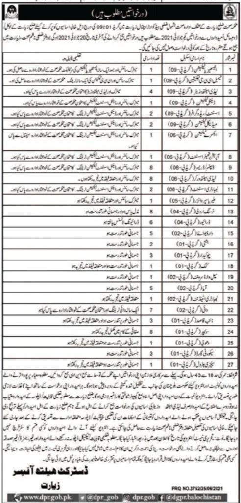 Health Department Ziarat Balochistan Jobs Today Govt Jobs Quetta