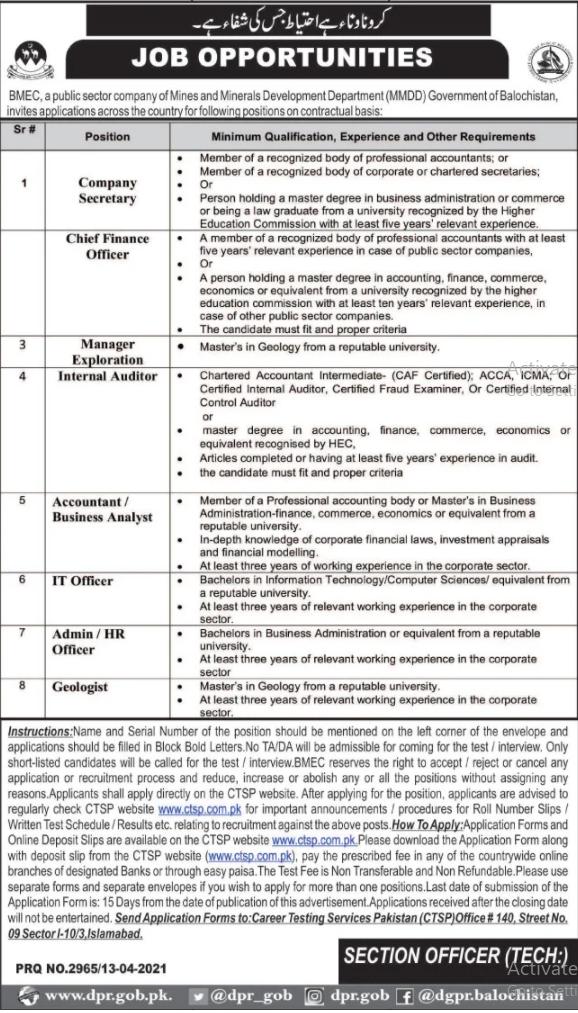 Balochistan Mineral Exploration Company BMEC Jobs CTSP Roll No Slip