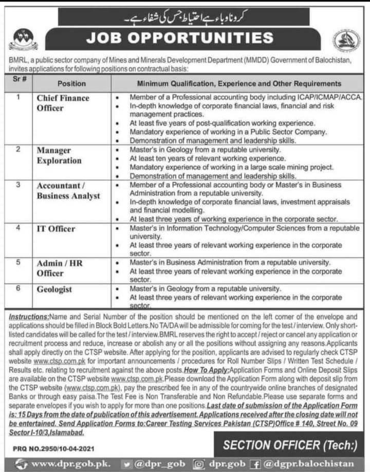 Balochistan minerals Resources Limited BMRL Jobs CTSP Roll No Slip