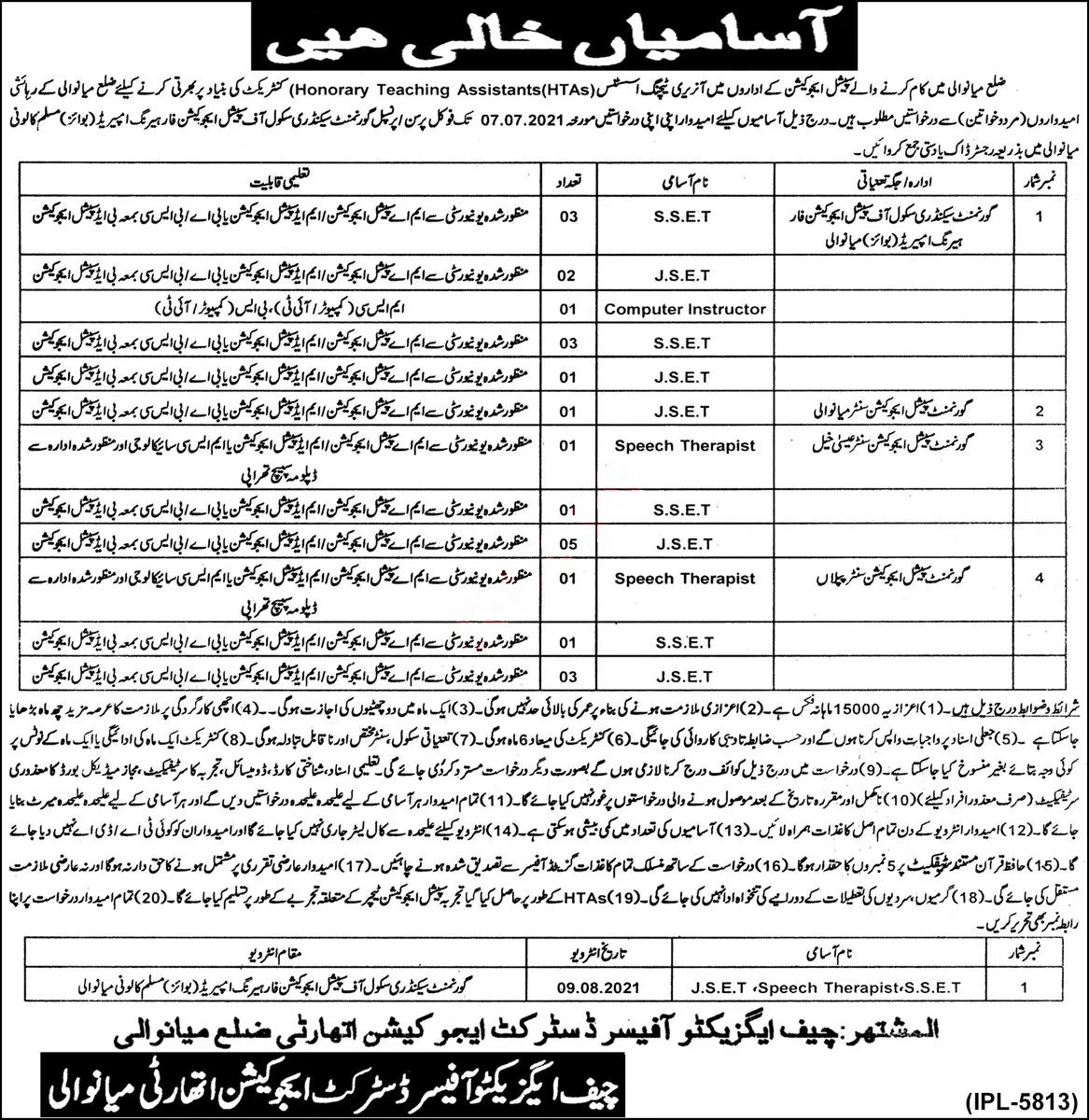 District Education Authority Mianwali Today Jobs