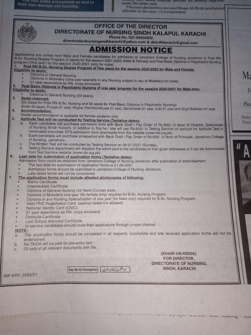 Directorate of Nursing Sindh Admission RN BS Nursing Program NTS Slip