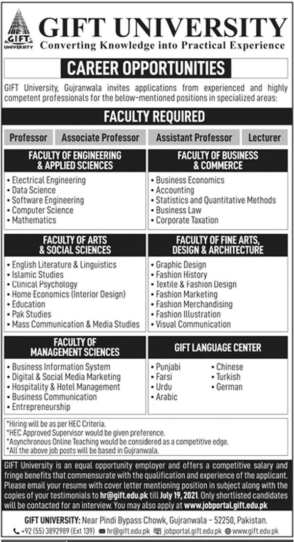 Gift University Gujranwala Today Govt Jobs in Pakistan