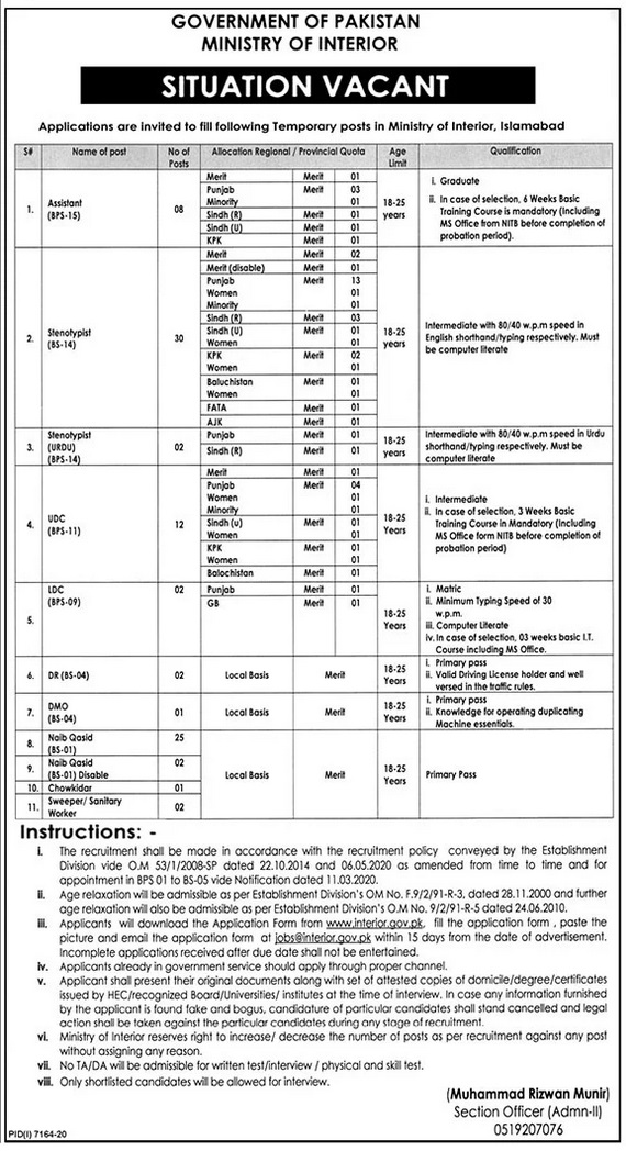 Ministry of Interior Jobs-Today Government Jobs in Islamabad