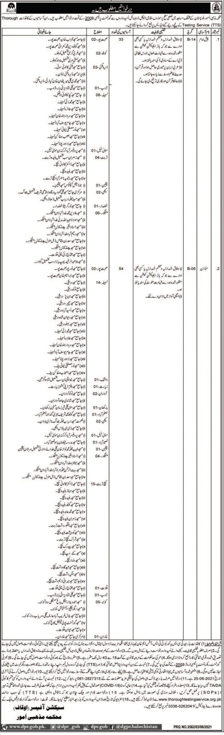 Ministry of Religious Affairs Balochistan Jobs TTS Roll No Slip