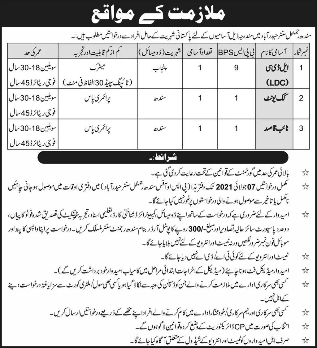 Pak Army Regiment Center Hyderabad Jobs