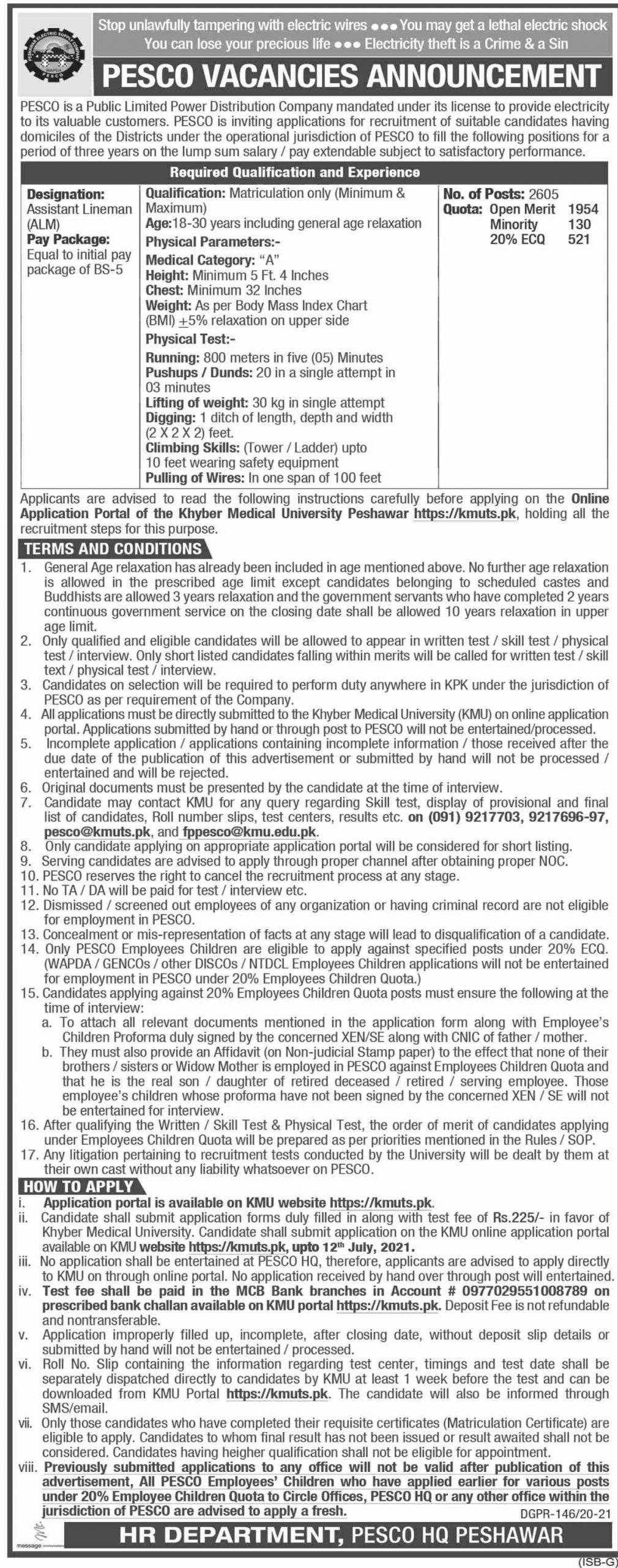 PESCO Assistant Lineman Govt jobs in Peshawar Today 2021