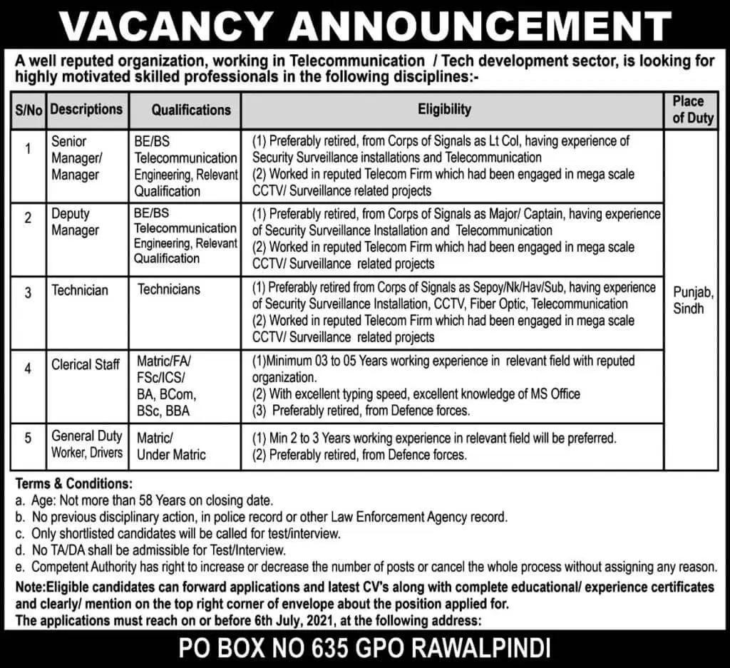 PO Box 635 GPO Rawalpindi Jobs Today