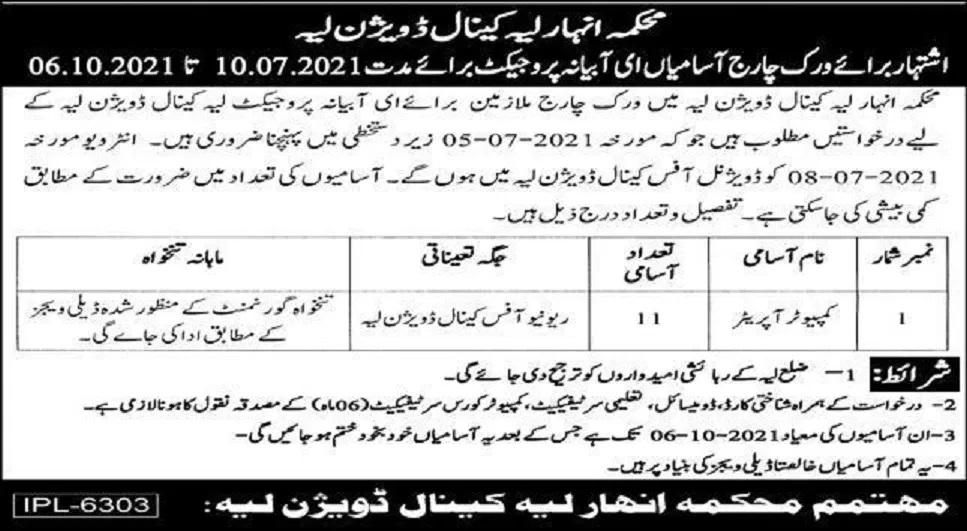 Punjab Irrigation Department Layyah Jobs
