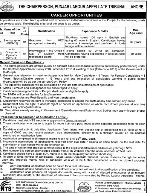 Government Jobs in Pakistan Today Punjab Labour Appellate Tribunal
